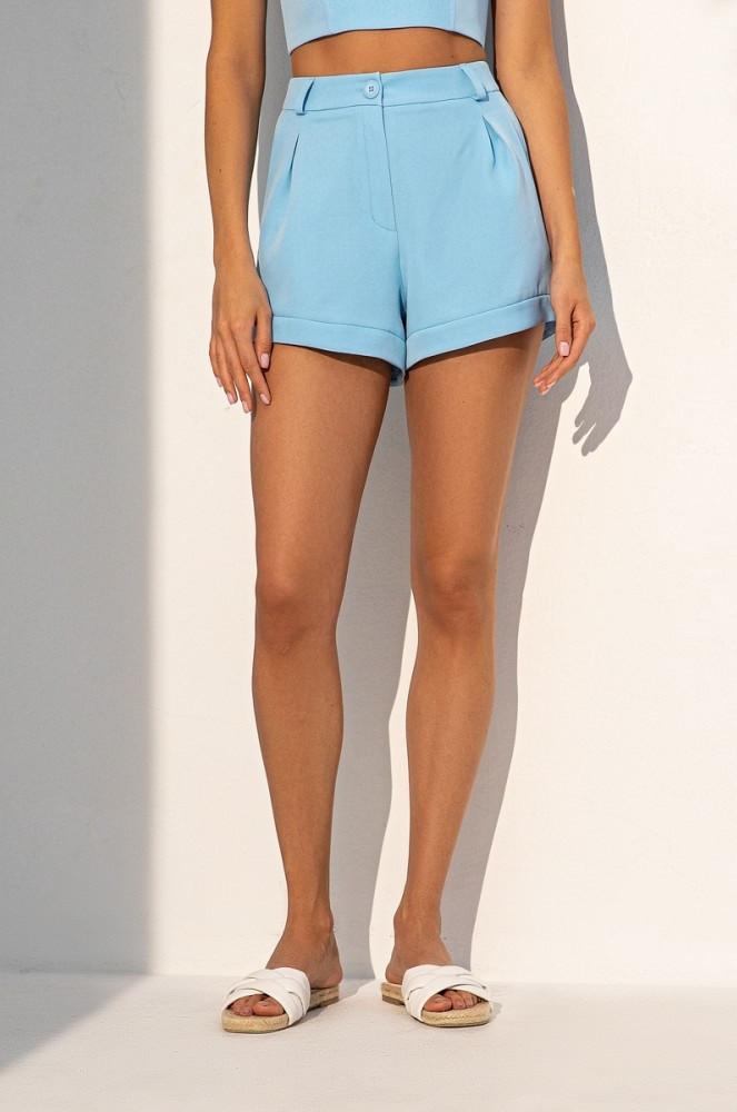 Короткі літні шорти з костюмної тканини із завищеною талією. Блакитного кольору