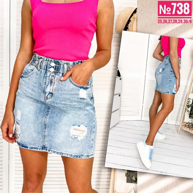 Стильная женская джинсовая юбка с потертостями