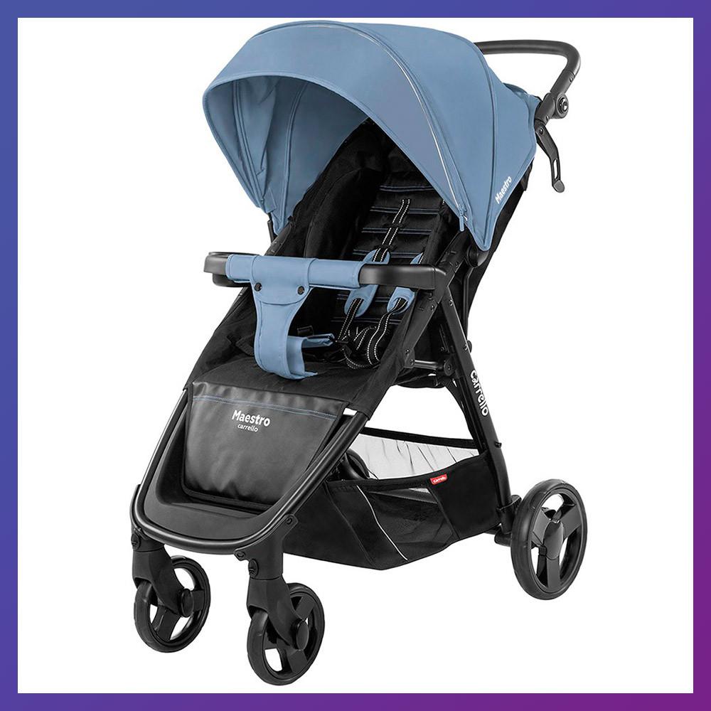Детская прогулочная коляска - книжка с регулируемой спинкой CARRELLO Maestro CRL-1414 Soft Blue синяя