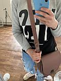 Рыжая маленькая женская сумка K68-20/4 коричневая кросс-боди молодежная через плечо с клапаном на замочке, фото 5