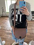 Рыжая маленькая женская сумка K68-20/4 коричневая кросс-боди молодежная через плечо с клапаном на замочке, фото 4