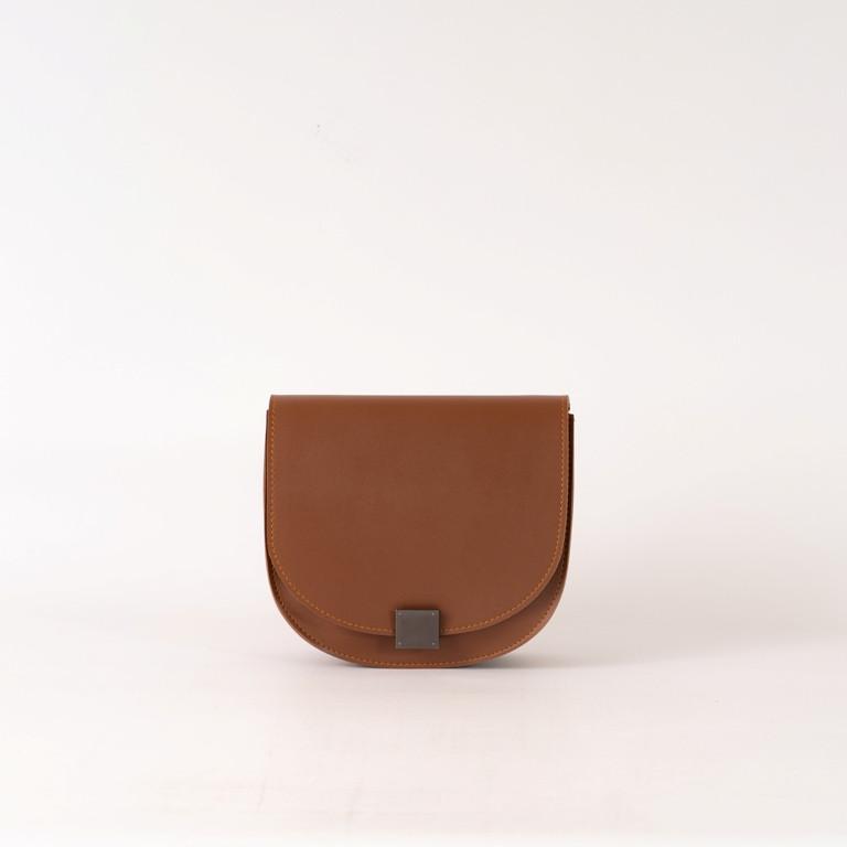 Рыжая маленькая женская сумка K68-20/4 коричневая кросс-боди молодежная через плечо с клапаном на замочке