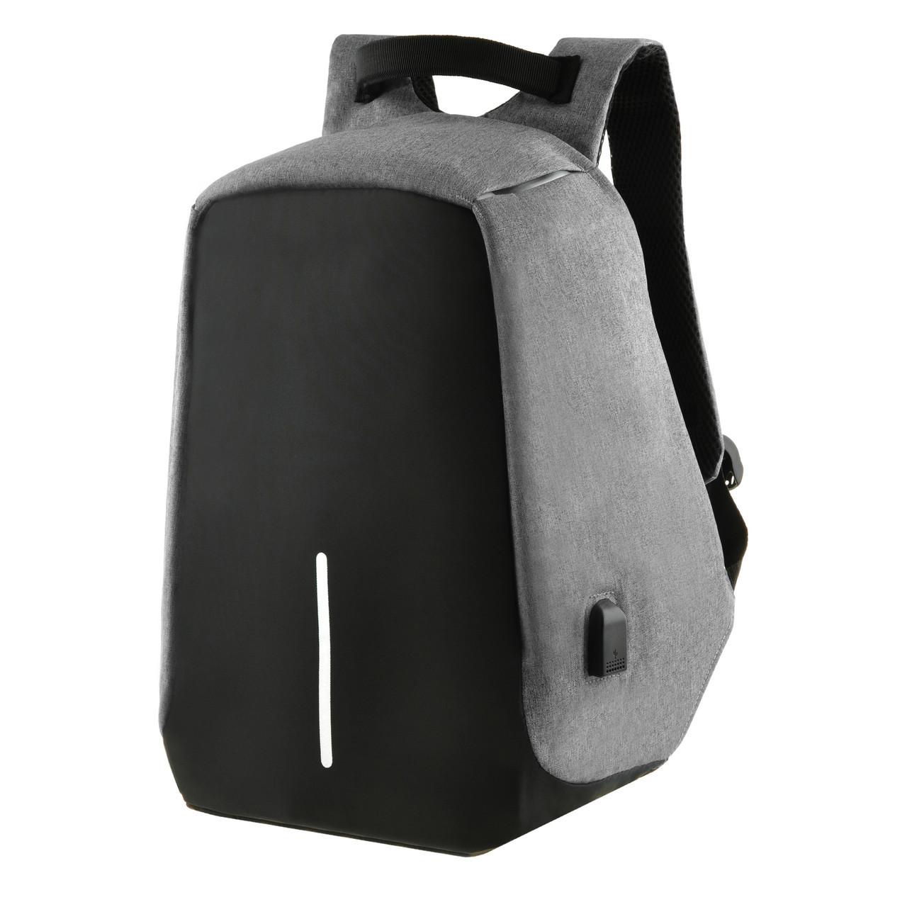 Міський рюкзак під ноутбук Bobby протикрадій 41х29х14 USB порт, водовідштовхувальна тканину чорно-сірий ксНЛ1688сер