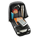 Міський рюкзак під ноутбук Bobby протикрадій 41х29х14 USB порт, водовідштовхувальна тканину чорно-сірий ксНЛ1688сер, фото 5