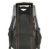 Міський рюкзак під ноутбук Bobby протикрадій 41х29х14 USB порт, водовідштовхувальна тканину чорно-сірий ксНЛ1688сер, фото 6
