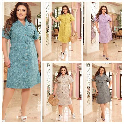 Идеальное платье из коттона для повседневного образа батальные размеры, разные цвета р.48/66 Код 3452Ф, фото 2