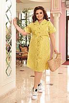 Идеальное платье из коттона для повседневного образа батальные размеры, разные цвета р.48/66 Код 3452Ф, фото 3