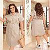 Идеальное платье из коттона для повседневного образа батальные размеры, разные цвета р.48/66 Код 3452Ф, фото 6