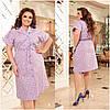 Идеальное платье из коттона для повседневного образа батальные размеры, разные цвета р.48/66 Код 3452Ф, фото 4