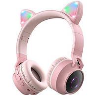 Подростковые, детские беспроводные светодиодные блютуз наушники Cat Ear BT028C Розовые