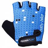 Велорукавички PowerPlay 5451 Синьо-білі M SKL24-144230, фото 2