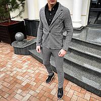 Мужской серый классический костюм в клетку Top
