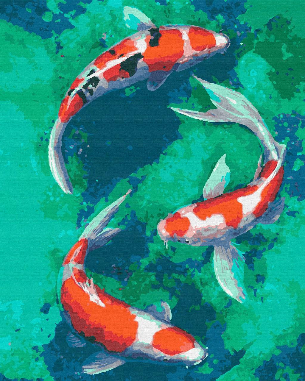 Картина по номерам рибы 40х50 Кои