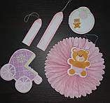 Набор для украшения детской комнаты новорожденной девочки в день выписки из роддома (веер круглый), фото 3