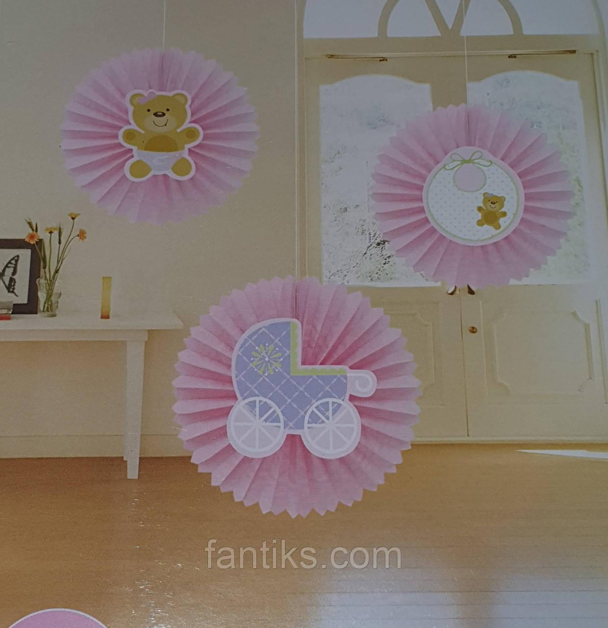 Набор для украшения детской комнаты новорожденной девочки в день выписки из роддома (веер круглый)