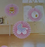Набір для прикраси дитячої кімнати новонародженої дівчинки в день виписки з пологового будинку