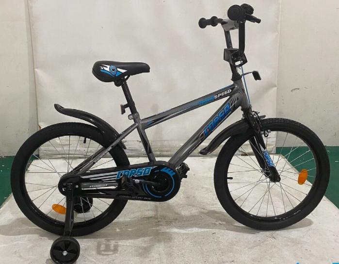 Двухколесный детский велосипед CORSO EX-20 N 3844 колеса 20д с ручным тормозом и звоночком / серый
