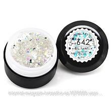 Гель-краска CANNI 642 прозрачная, блестки серебро голографическое, 5 ml