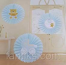 Набор для украшения детской комнаты новорожденного мальчика в день выписки из роддома (веер круглый)