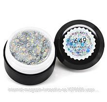 Гель-краска CANNI 649 прозрачная, блестки золото/серебро голографическое, 5 ml