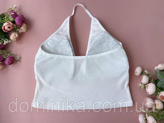 Белый женский бесшовный топ майка через шею, фото 2