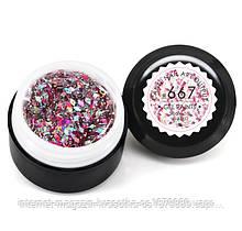 Гель-краска CANNI 667 прозрачная, блестки розовые/серебро голографическое, 5 ml