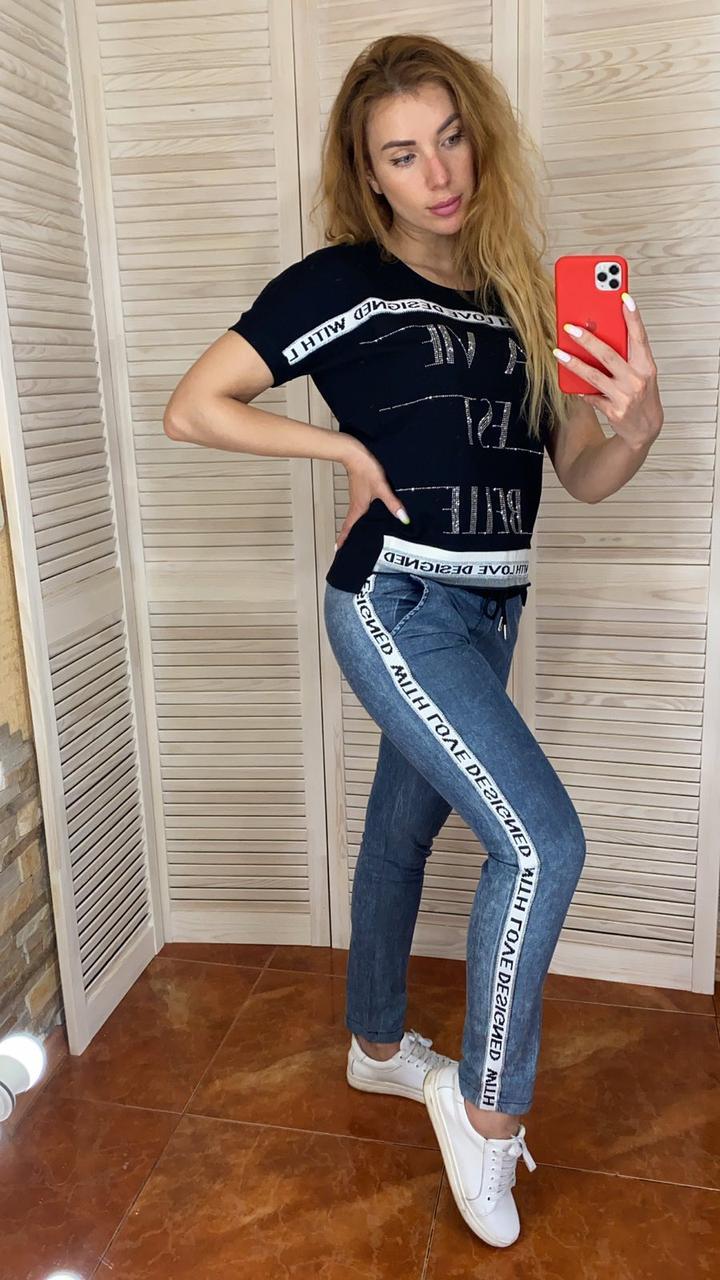 Жіночий літній костюм з джинсами (Туреччина); розмір С,М,Л,ХЛ (норма)