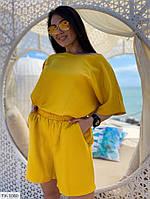 Льняной костюм женский летний свободного кроя шорты с футболкой большие размеры батал 50-60 арт. р15402