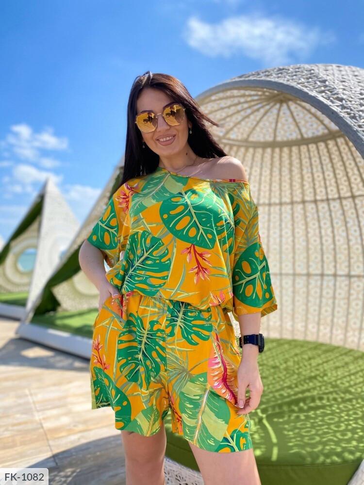 Льняной летний костюм шорты с туникой больших размеров батал 50-60 арт.  р41406