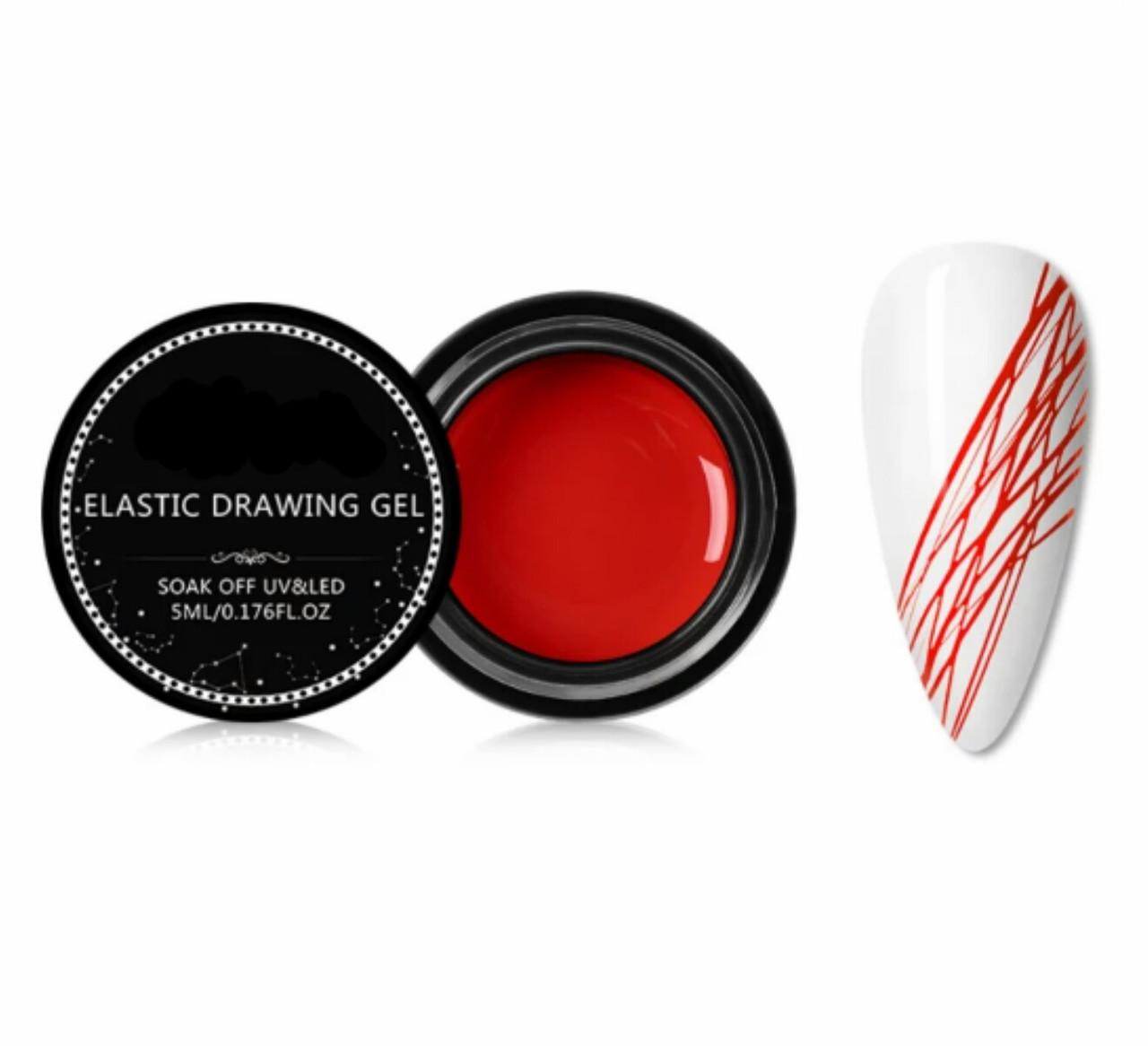 Гель-Паутинка красная для дизайна ногтей, 5мл