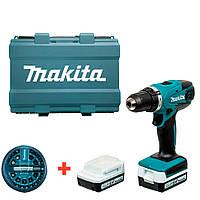 Аккумуляторный шуруповерт Makita DF347DWE + 2 акб 14.4 V 1.5 Ah + з у + кейс + набор бит DF347DWE, КОД: