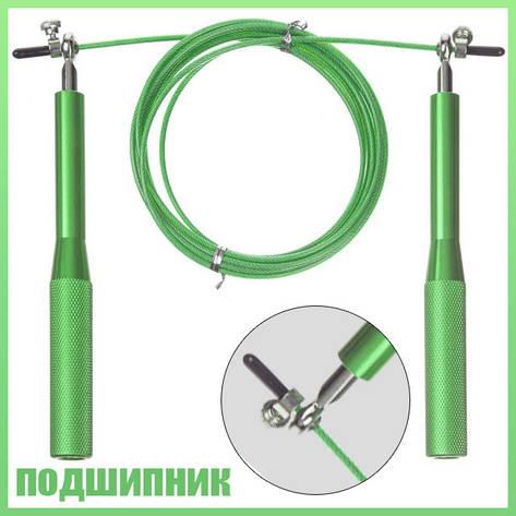 Тяжелая скакалка для кроссфита скоростная скакалка с подшипниками зеленого цвета, фото 2