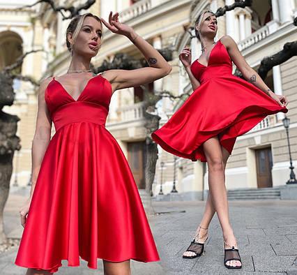 """Женское нарядное платье 7383 """"Атлас Монро"""" в расцветках"""