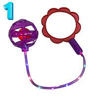 Светящаяся нейроскакалка на одну ногу Ice Hoop (Красное кольцо в форме цветка + Фиолетовый шар №1) (TI)