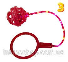 Светящаяся скакалка на одну ногу Ice Hoop (Красное кольцо + Красный шар №3), детская нейроскакалка (TI)