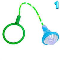 Скакалка светящаяся Ice Hoop на одну ногу (Голубой фонарик и Зеленый круг №1), детская нейроскакалка (TI)