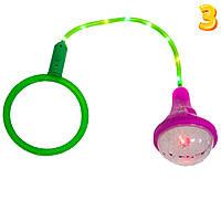 Скакалка светящаяся на одну ногу Ice Hoop - Малиновый фонарик и Зеленый круг №3, нейроскакалка детская (TI)