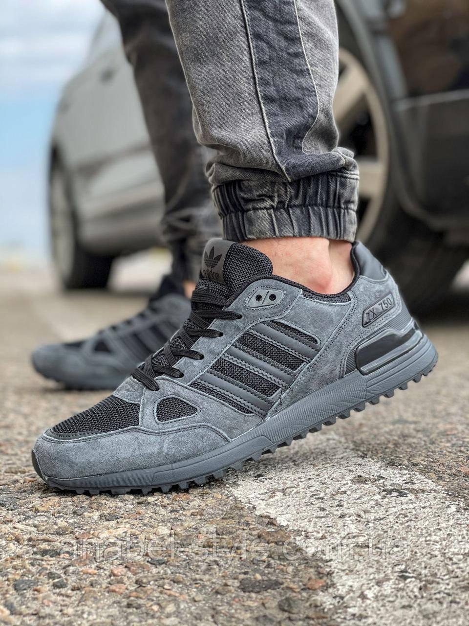 Кроссовки мужские 18162, Adidas ZX 750, темно-серые [ 43 44 ] р.(43-28,0см)