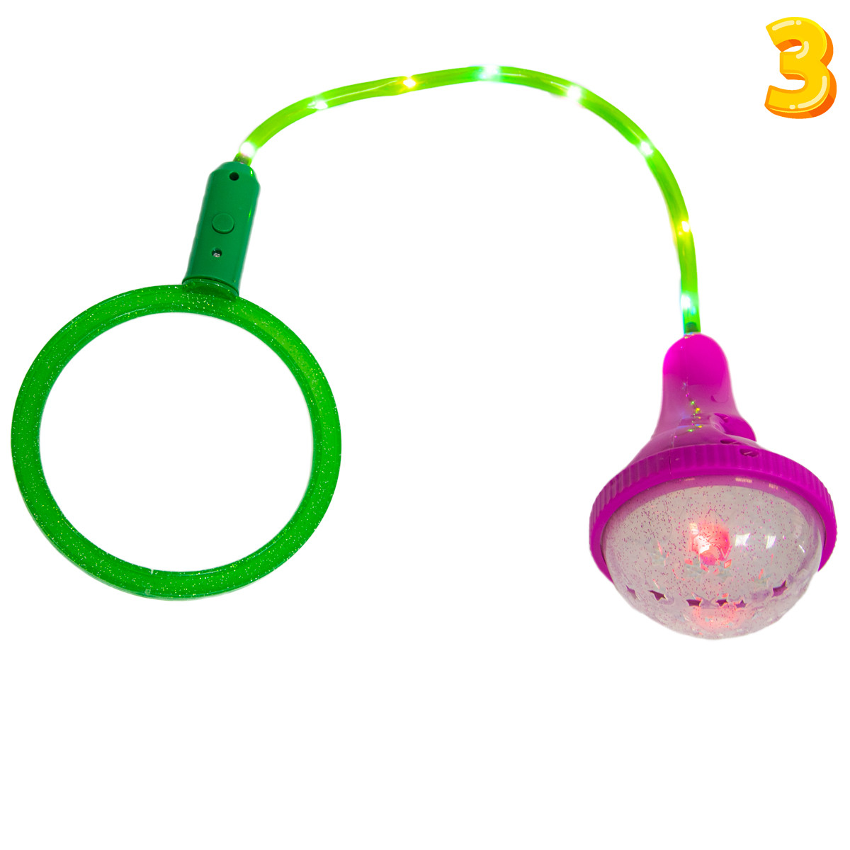 Скакалка блимаюча на одну ногу Ice Hoop - Малиновий ліхтарик та Зелений круг №3, нейроскакалка дитяча