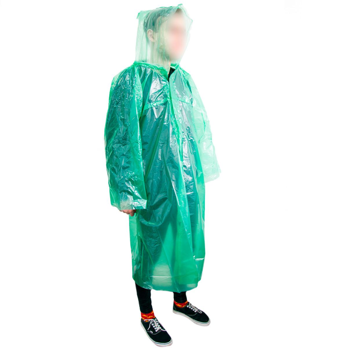 Дощовик рибацький Зелений на липучках, плащ дощовик чоловічий на рибалку, плащ від дощу туристичний (дождевик)