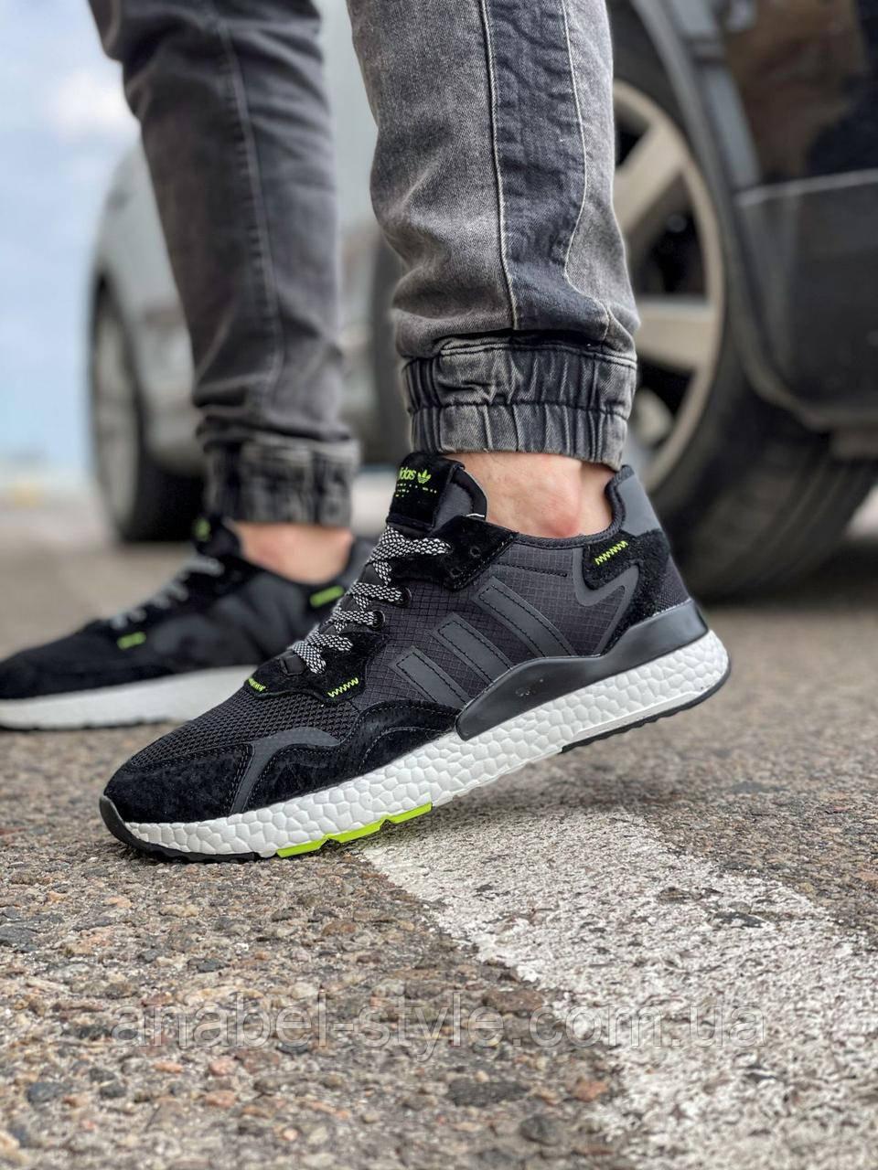 Кроссовки мужские 17298, Adidas Nite Jogger Boost 3M, черные, [ 41 42 43 44 46 ] р. 41-25,2см. 44