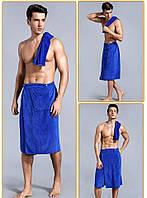 Килт для ванно-банных процедур. Полотенце-юбка мужское на пуговицах.Тонкая микрофибра