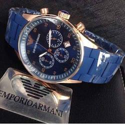 Наручний годинник Emporio Armani Чоловічі Синій NEW Брендові емпоріо Армані на руку Кварцові ТОП!