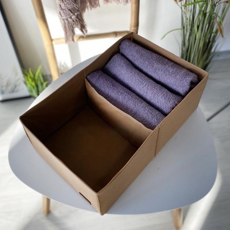 Органайзер для вещей, полотенец и постельного белья 40х25х16 см (Бежевый)