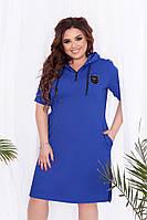 Платье женское летнее спортивное с капюшоном большие размеры