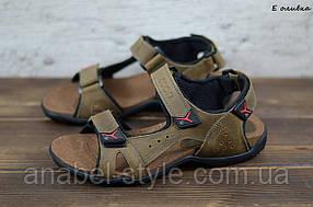 Мужские сандалии из натуральной кожи оливкового цвета