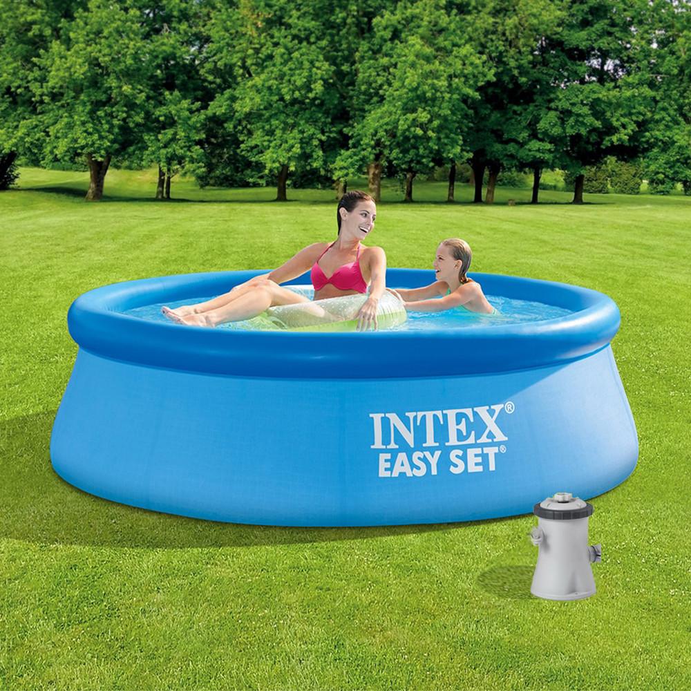 Басейн надувний Intex Easy Set 244х76см 28110 з фільтр-насосом Дитячий сімейний круглий басейн для будинку