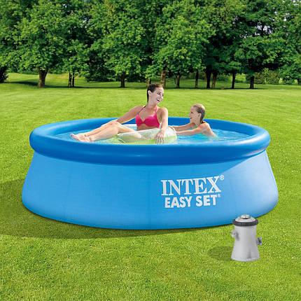 Басейн надувний Intex Easy Set 244х76см 28110 з фільтр-насосом Дитячий сімейний круглий басейн для будинку, фото 2