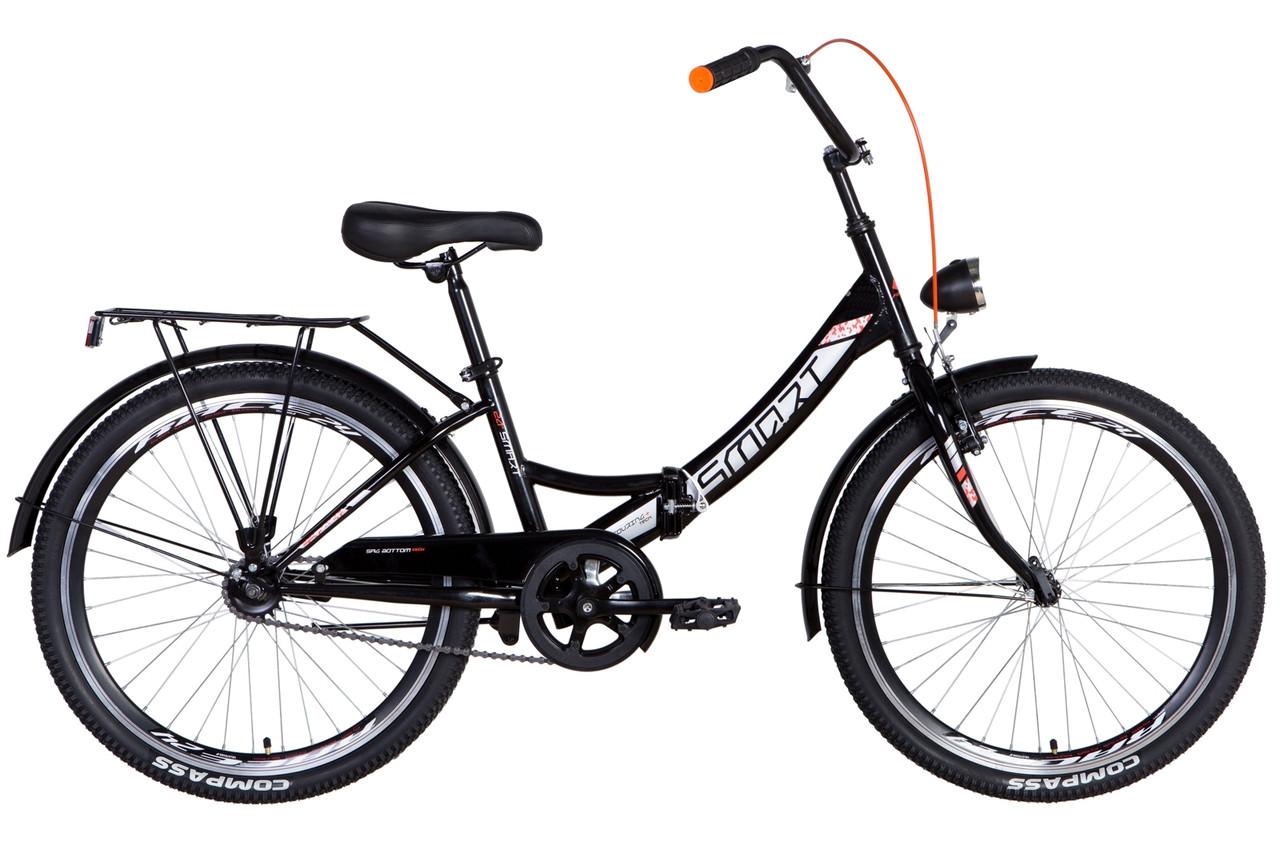 """Велосипед складной 24"""" Formula Smart Vbr с фонарём 2021 черно-оранжевый"""