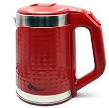 Електрочайник з металевою колбою обсяг 2.2 л (червоний)